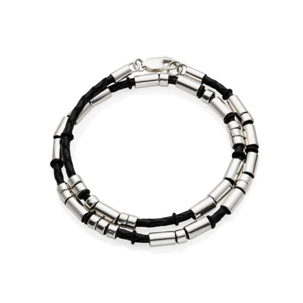 MenΓÇÖs Leather Silver Double Strand Morse Code Bracelet