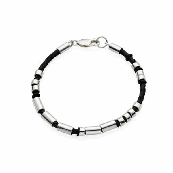MenΓÇÖs Leather Silver Single Strand Morse Code Bracelet