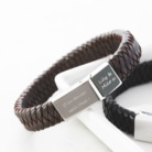 mens leather personalised bracelet