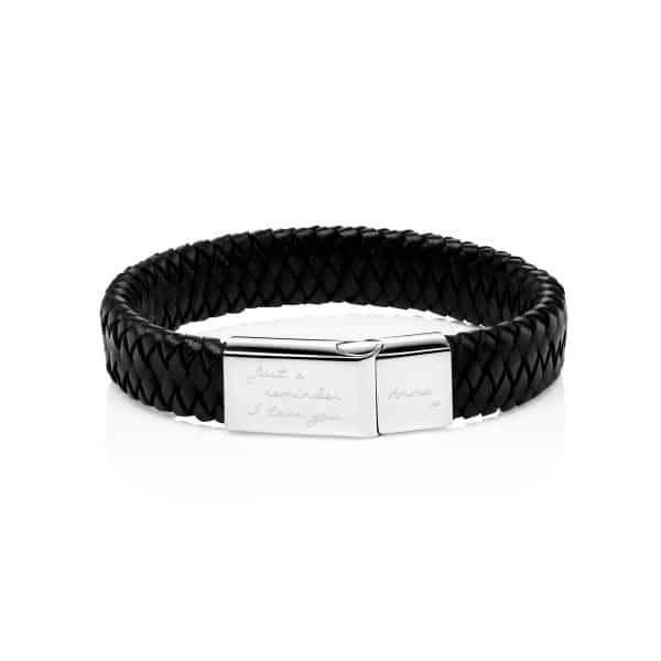 Black MenΓÇÖs Personalised Engraved Leather Bracelet