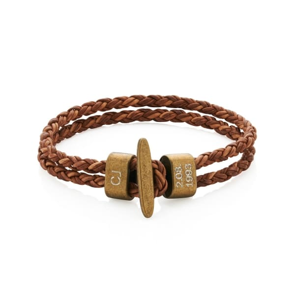 Mens-Brown-Leather-Bracelet