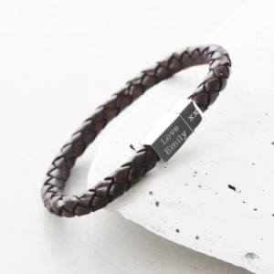 Men's leather and silver engraved bracelet