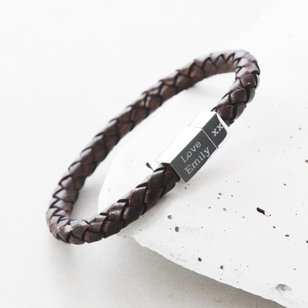 ca5cb0b82d1f ... Men s leather and silver engraved bracelet ...