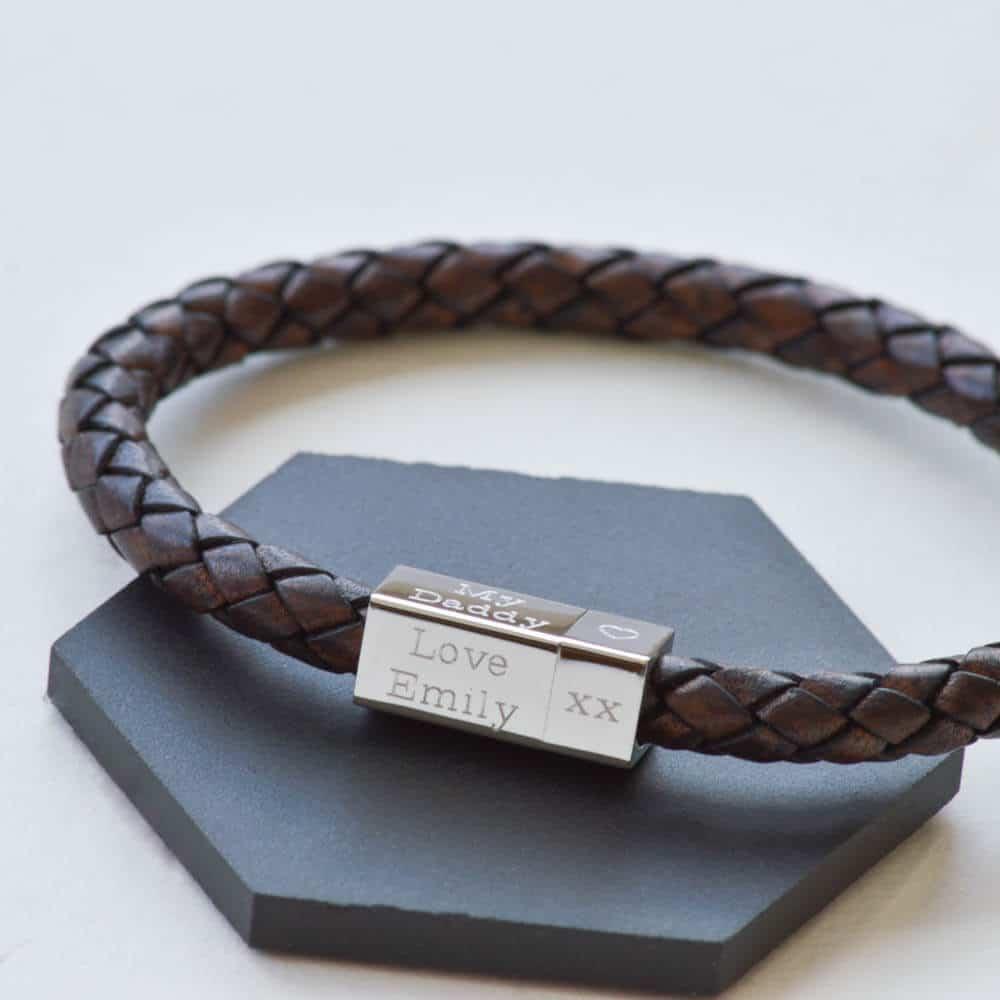 8ecfb4c49e5b9 ... Men s leather and silver engraved bracelet square bracelet ...