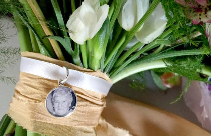 Photo charm on bouquet