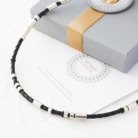 Men's leather and silver morse code necklace