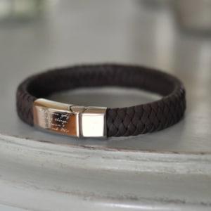 engraved leather men's bracelet