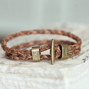 men's leather gold clasp bracelet
