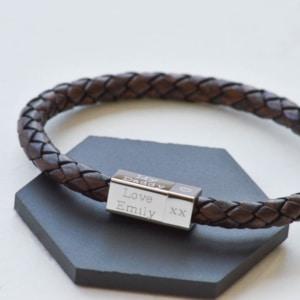 silver square engraved men's bracelet