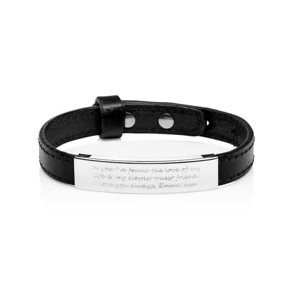 MenΓÇÖs Personalised Black Adjustable Bracelet