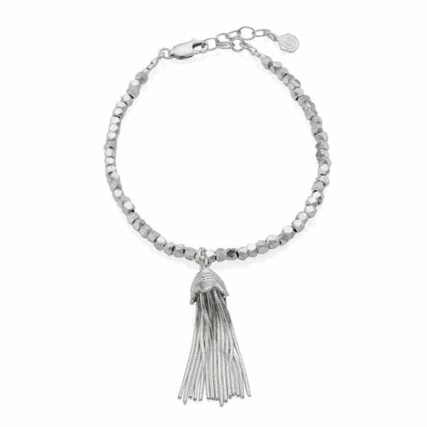 Silver Nugget Tassel Bracelet