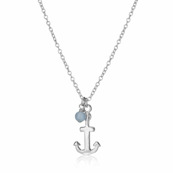 Childs Birthstone Anchor Charm Necklace