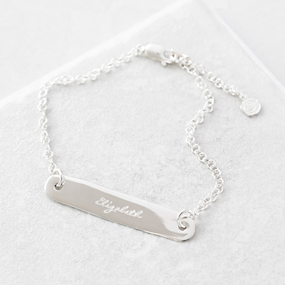 Personalised silver identity bracelet