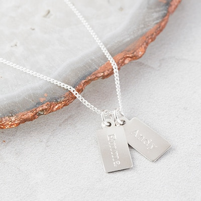 Personalised sterling silver teeny tiny tag necklace