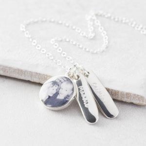 Silver Photo Name Bar Necklace