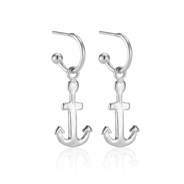 Silver Anchor Charm Earrings
