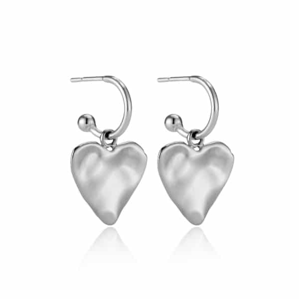 Silver Heart Charm Earrings_a