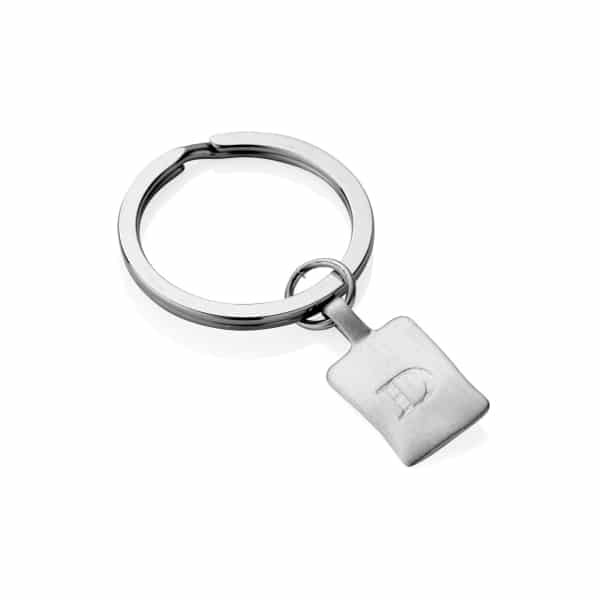 Silver square initial Keyring (engraved)_1