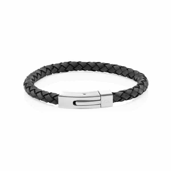 Personalised MenΓÇÖs Grey leather Bracelet