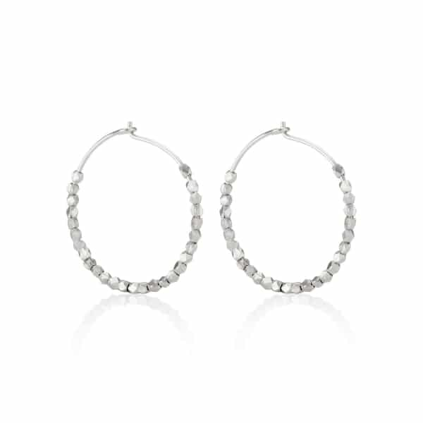 Tiny Silver Nugget Hoops