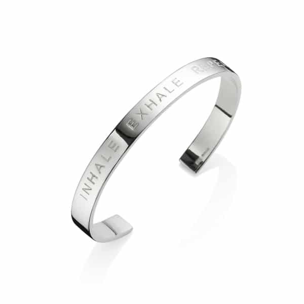 Silver Inhale Exhale Repeat Bangle