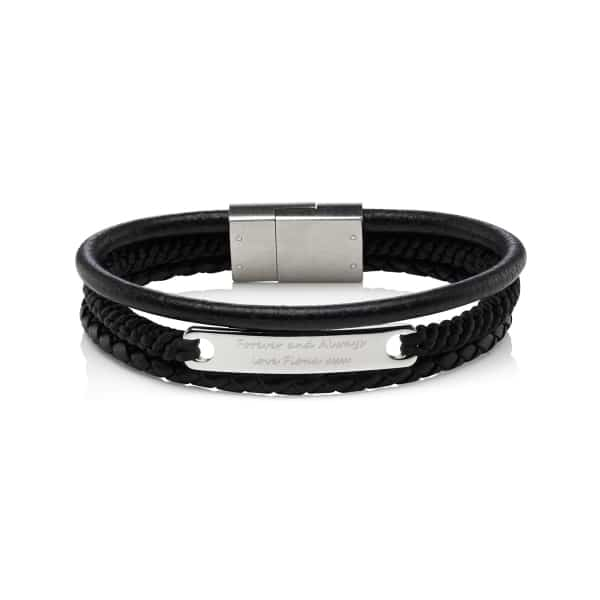 MenΓÇÖs Multi Strand Personalised Leather Bracelet
