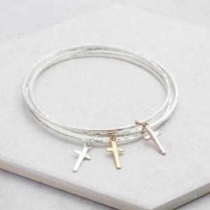 Mini Cross Charm bangle