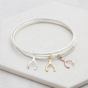 mini wishbone charm bangle