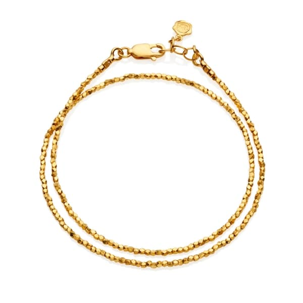 Tiny Yellow Gold Nugget Wrap Bracelet