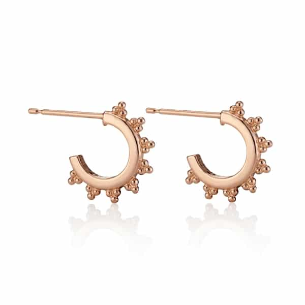 Rose-gold-Midi-Signature-logo-Hoop-Earrings