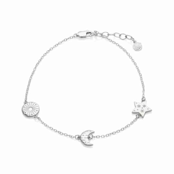 Silver Sun, Moon and Stars Anklet