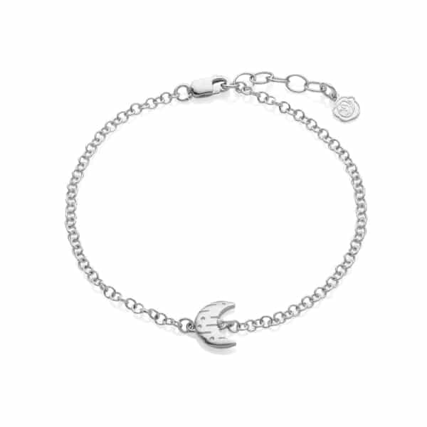 Moon and back silver bracelet