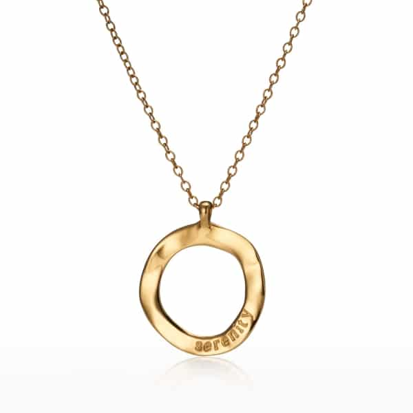 Maxi Yellow Gold Circle Charm Necklace