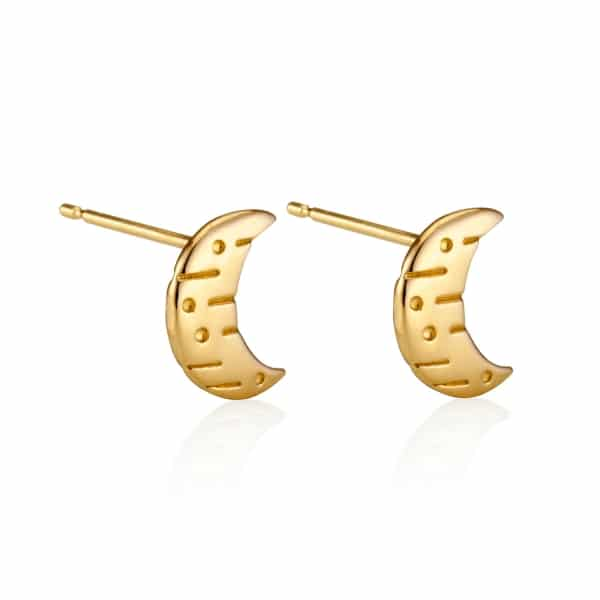 Moon and back gold stud