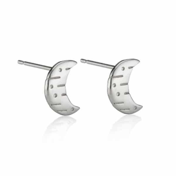 Moon and back silver stud earrings