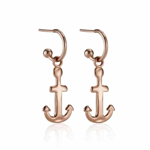 Rose Gold Anchor Charm Earrings