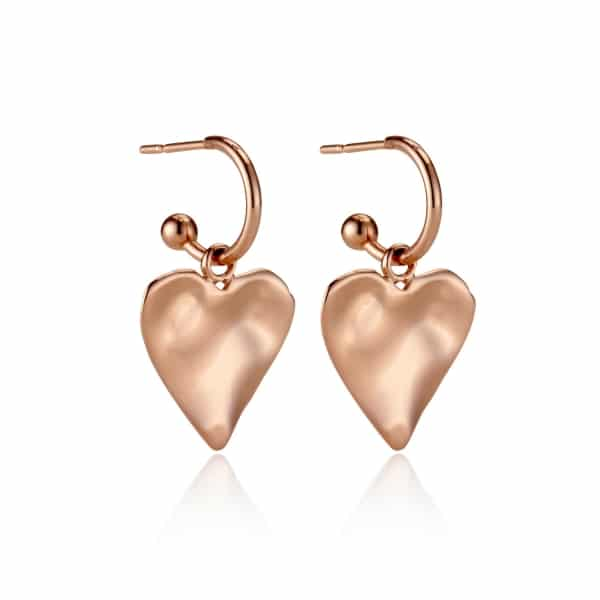 Rose Gold Heart Charm Earrings