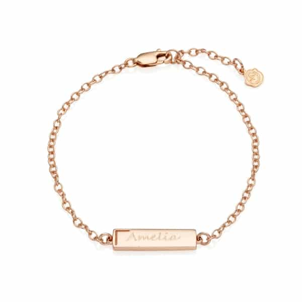 Rose Gold Personalised Small Bar Bracelet