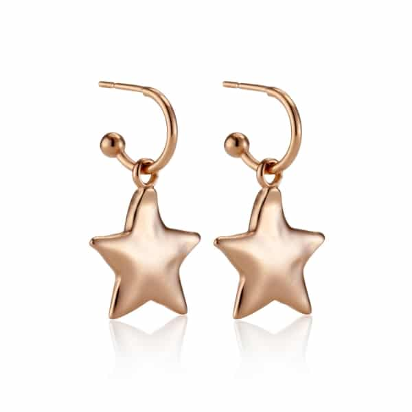 Rose Gold Star Charm Earrings