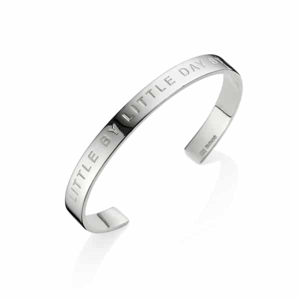Silver Little by little day by day bangle