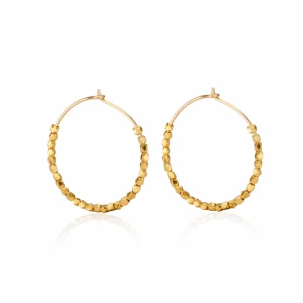 Tiny Yellow Gold Nugget Hoops