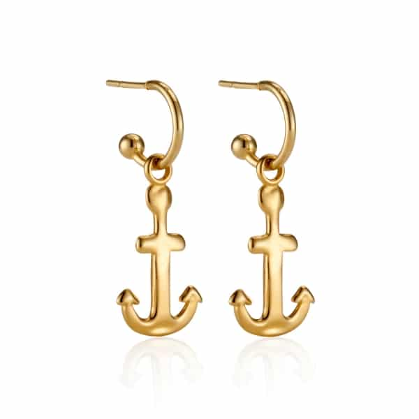 Yellow Gold Anchor Charm Earrings