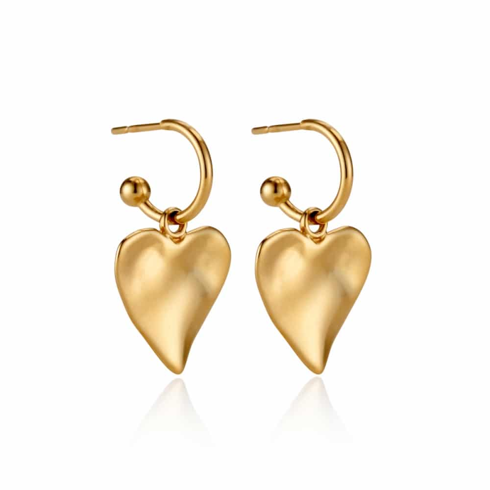 598dbe1667f4e Yellow Gold Heart Charm Hoop Earrings | Under the Rose