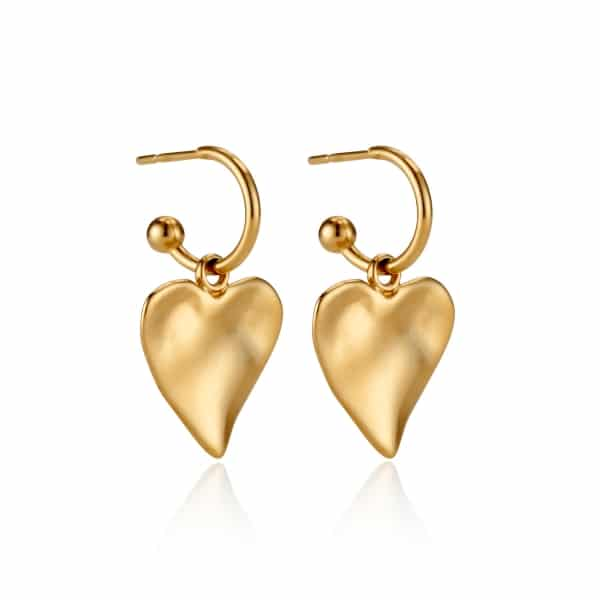Yellow Gold Heart Charm Earrings