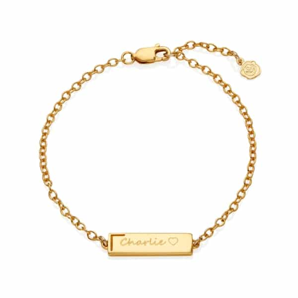 Yellow Gold Personalised Small Bar Bracelet