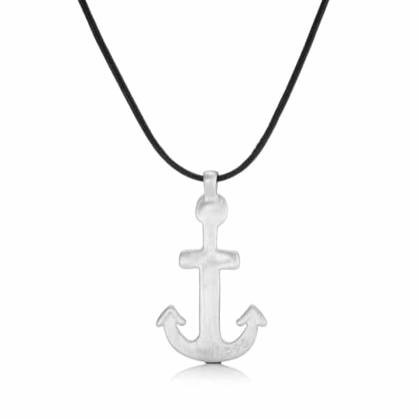 Mens Lether Anchor Pendant