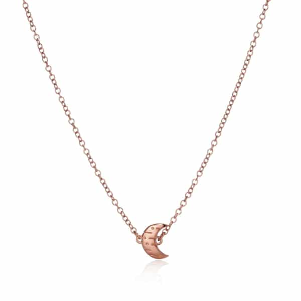 Moon and Back Rose Gold Necklace