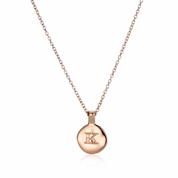 Rose Gold Circle Initial Necklace_1