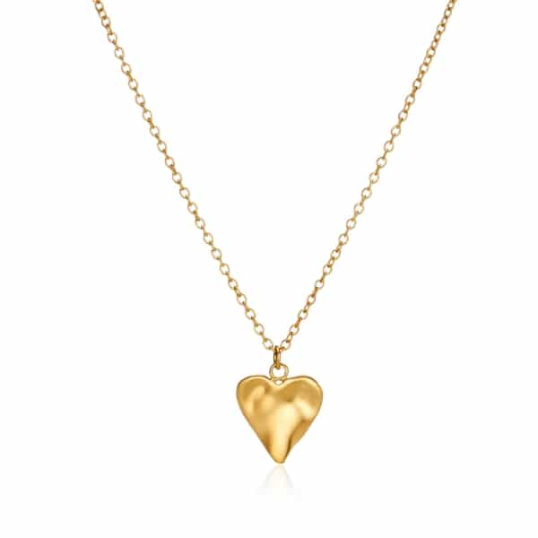 Yellow Gold Heart Charm Necklace_2