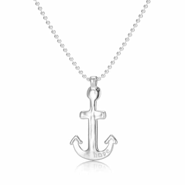 Mens Silver Anchor Necklace Ball Chain